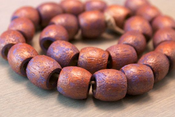 Lavender and copper hand painted wood beads