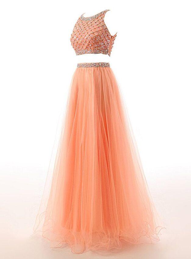 long prom dress, two piece prom dress, beading prom dress, pretty prom dress, tulle prom dress, popular prom dress, evening dress