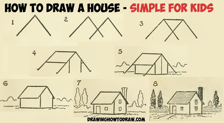 How to Draw a Simple House with Geometric Shapes Easy Step by Step Drawing Tutorial for Kids and Beginners