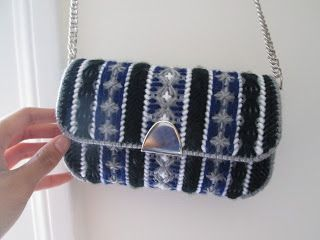 Great evening bag..Hard to believe it's made from plastic canvas.Once you learn this craft the skies the limit.Cross stitch and needlepoint patterns can be converted to plastic canvas in a snap.