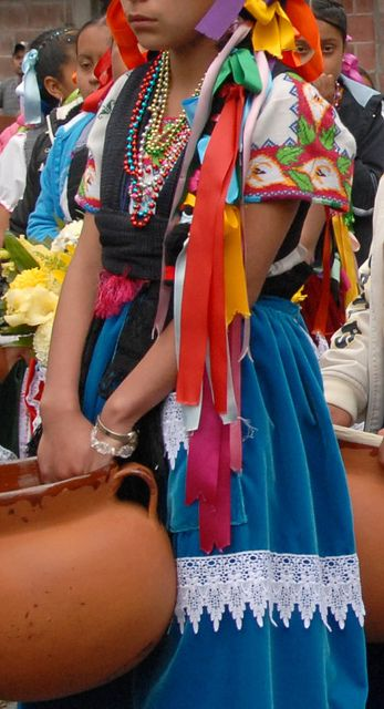 Fiesta Purepecha Mexico. This Purepecha woman wears a lace trimmed velveteen apron and an embroidered huipil (huanengo) at a festival in Michoacan, Mexico. via Karen Elwell