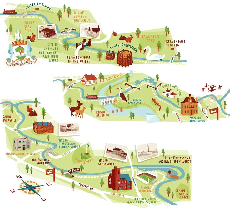 Glasgow canal map illustrations Kerryhyndman.co.uk