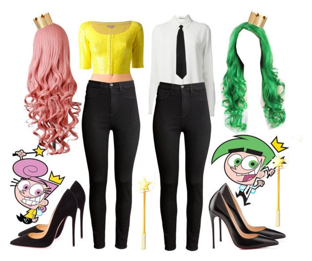 """""""Best Friends Costumes. #529"""" by alejandramalagon ❤ liked on Polyvore featuring moda, Ødd., T By Alexander Wang, H&M, Christian Louboutin, Forever 21, P.A.R.O.S.H., fairlyoddparents y costumes"""