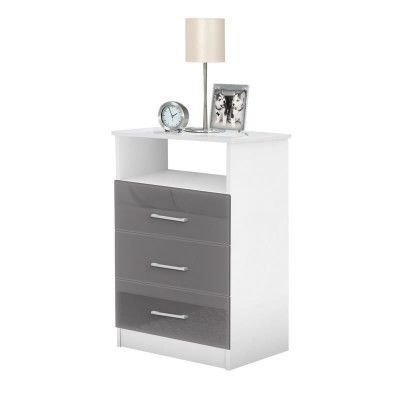 Freedom Nightstand - Tall Nightstand with 3 Drawers, Open Space