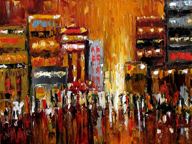 Abstract Cityscape Art Street Scene pallet knife painting original painting by Debra Hurd