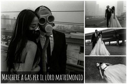 Un matrimonio con le maschere a gas: le foto di una coppia di sposi cinesi