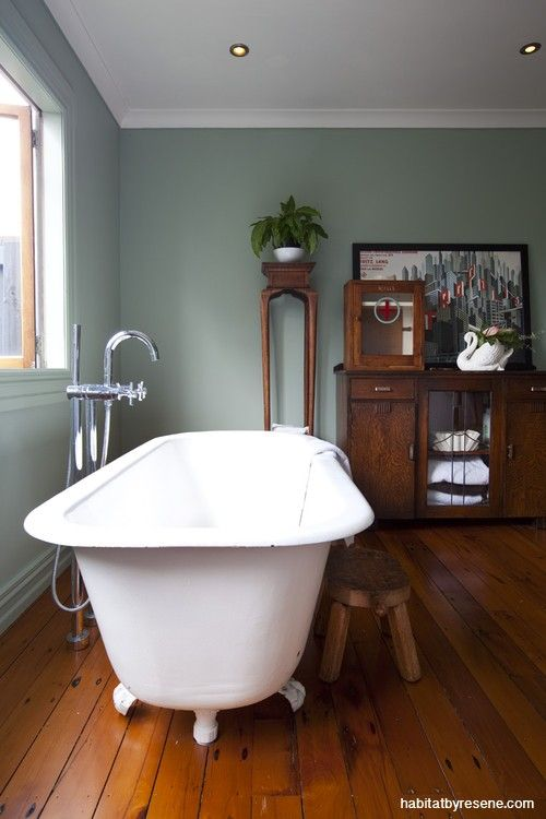A bathroom painted in Resene's calming Mantle. From the book 'New Zealand Interior Style' by LeeAnn Yare and Larnie Nicolson.