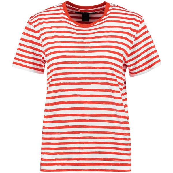 Marc by Marc Jacobs - Striped Cotton-jersey T-shirt (130 BRL) ❤ liked on Polyvore featuring tops, t-shirts, orange, white graphic tees, animal graphic tees, orange tee, striped t shirt and white graphic t shirt