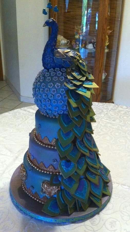 763 Best Peacock Cakes Images On Pinterest Peacock Cake