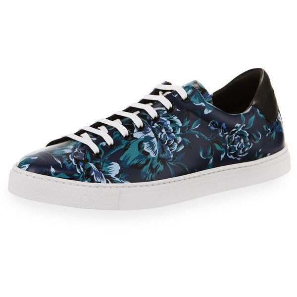 Burberry Albert Floral-Print Leather Low-Top Sneakers (16020 TWD) ❤ liked on Polyvore featuring men's fashion, men's shoes, men's sneakers, blue, burberry mens sneakers, mens floral print shoes, mens blue shoes, mens low profile shoes and mens leather sneakers