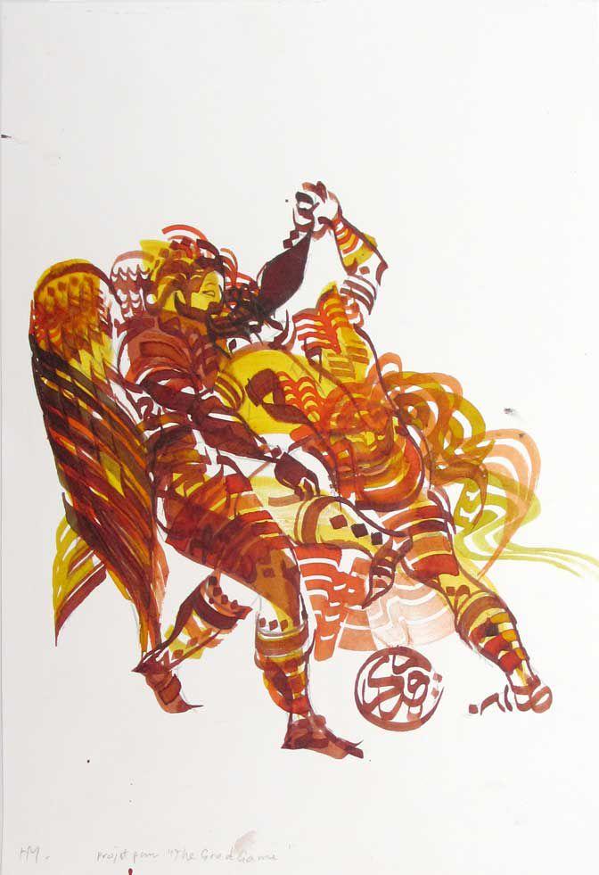 Hassan Musa, La lutte de Jacob en calligraphie  http://www.pascalpolar.be/site/artisteview.php?nom_de_tri=Hassan%20Musa