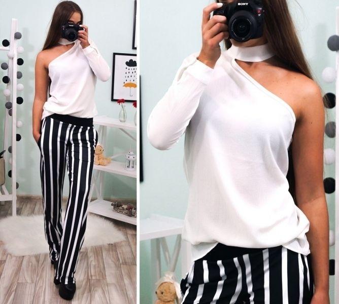 de1308f7c4e Оригинальная женская блуза с имитацией чокера одно плечо и рука оголены  белый · Женские блузки 2017