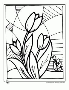 Tulip Flower Coloring Page