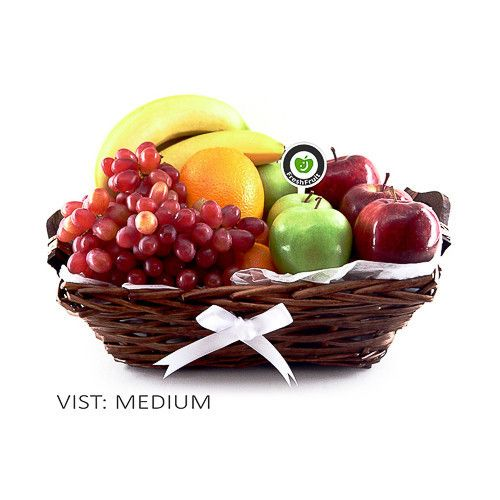 Our classic handmade gift basket, filled with fresh fruit like apples, bananas, grapes and oranges and decorated in white colors. Freshly made and delivered to the door in Norway!