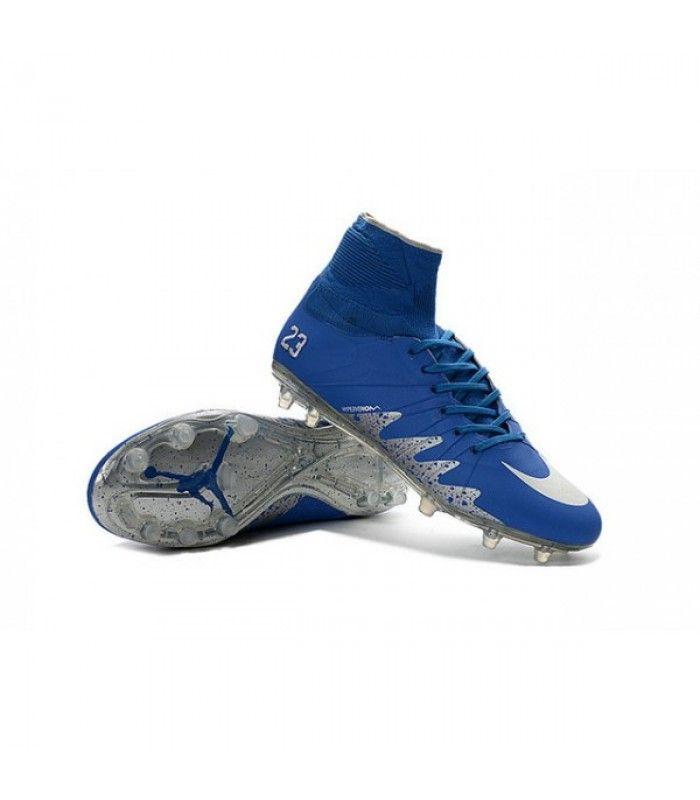 Acheter Nike HyperVenom Phantom II FG Football bottes pour hommes Neymar x Jordan Bleu Argenté pas cher en ligne 123,00€ sur http://cramponsdefootdiscount.com