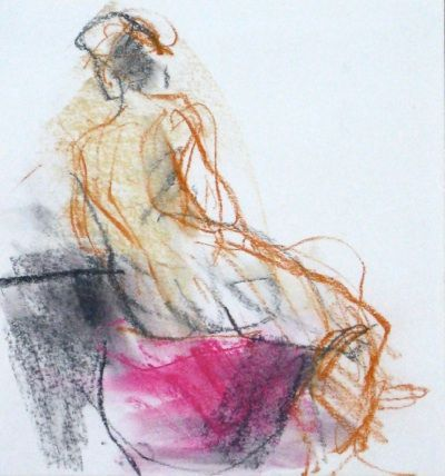 life drawing august 08.1, conte, 18 x 18 cm. Jane Lewis