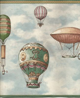 Balloon Dirigible Hot Air Flag Wallpaper Border Vintage