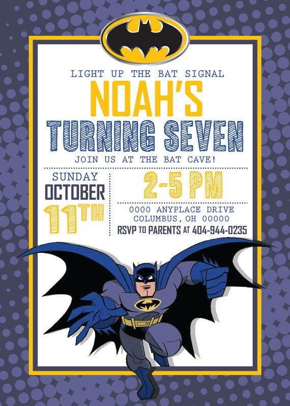 Batman Invitation//Birthday Invitation//Batman by WestOnDesignSt