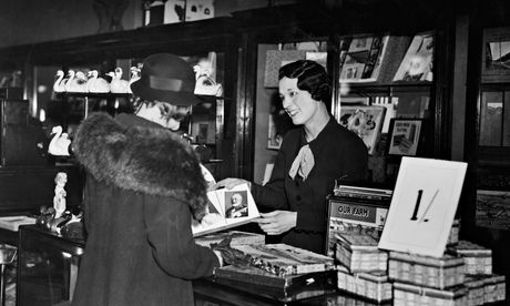 April 1935: British Olympic athlete Violet Webb at work on the toy counter at Selfridges on Oxford Street, London.  Photograph: Topical Pres...