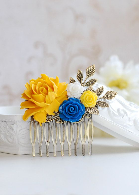 Yellow and Blue Wedding Hair Accessory Bridal Hair Comb by LeChaim