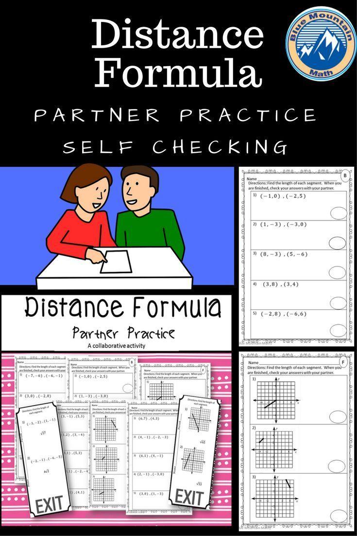 Distance Formula Partner Practice Distance Formula Vocabulary Activities Common Core Math Activities