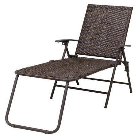 Rolston Wicker Patio Folding Chaise Lounge Thr