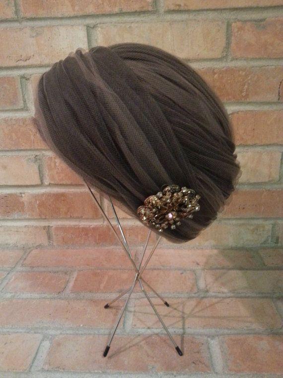 Vintage Hat 1960s Turban Style Hat Rhinestone by crazyplatter, $54.00