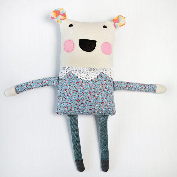Plush Polar Bear Softie - Handmade Soft Toy, CuddlyFleece floral dress, Great gift for a Girl or Baby Nursery Kids Room Decor