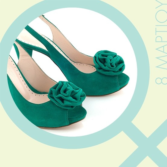 Chaniotakis | Green Suede Peep-toe with Plato and Handmade Bow