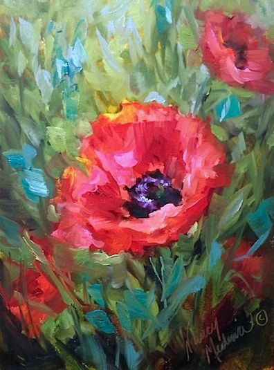 Paper Doll Poppies, flower paintings, Nancy Medina Art, oil on paper www.nancymedina.com
