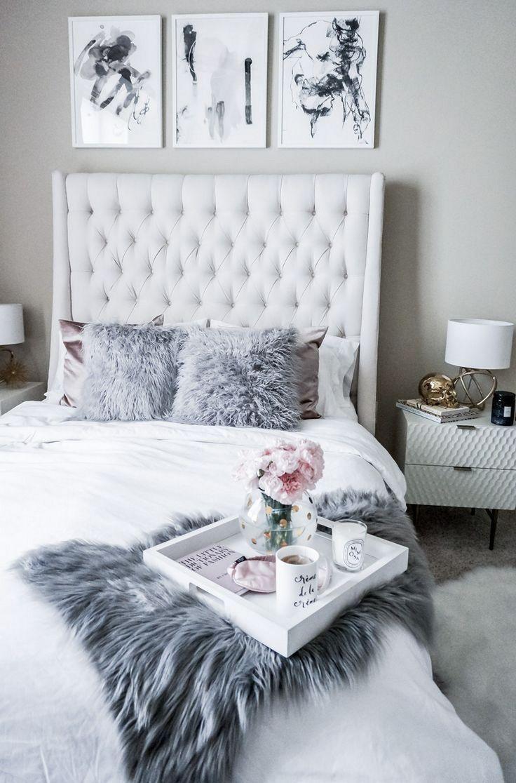 grey and white bedroom design idea