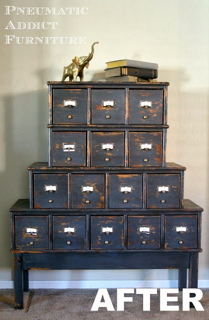 Pneumatic Addict Furniture: Milk Paint Card Catalog How cute!  The BEFORE is nothing like the after!  This was a modern CD cabinet but you would never know it now!