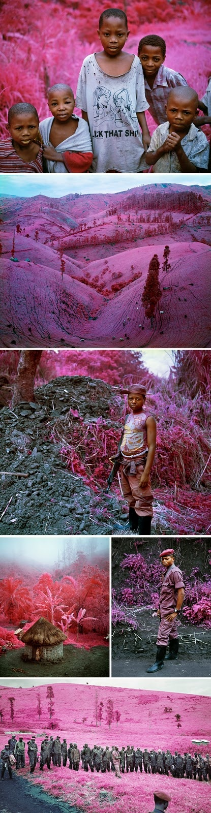 """I recently saw these photos taken by Richard Mosse and was struck dumb by the contrast of such a loud and festive color and the subject matter - wartorn Congo."""