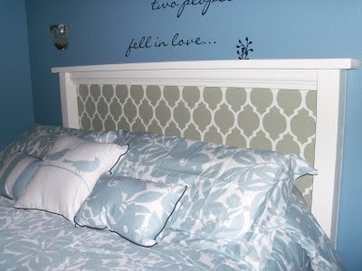 Completely handmade headboard. Very cool. Includes step by step photos.