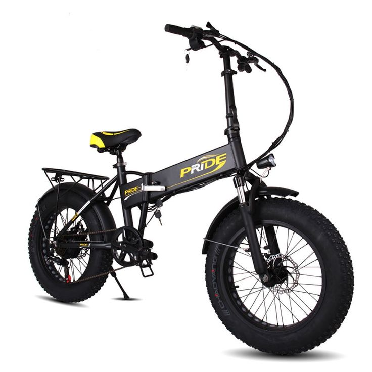 PRIDE Folding Electric Mountain Bike with 20 Inch Fat Tire ,48V Lithium Battery 250W Aluminum Mountain Snow Beach Bicycles , Shimano 6 Speeds Gear