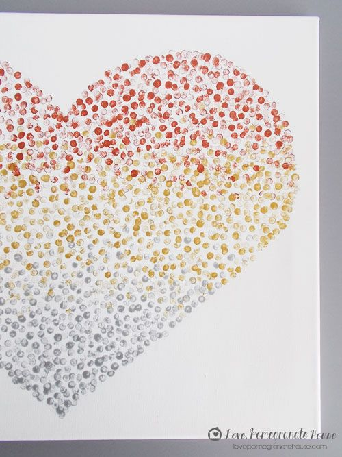 dot artwork: paint + pencil eraser. Do any shape, or a giant L or words