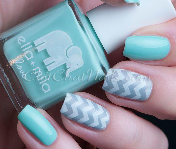 Ella+Mila: ☆ Ibiza Breeze ☆ ... a turquoise creme nail + zig zag nail art by  ChitChatNails ... a cruelty free polish certified byPETA, also a 5 Free polish