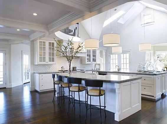 Pendant lights from cathedral ceiling architecture for Cathedral ceiling kitchen designs