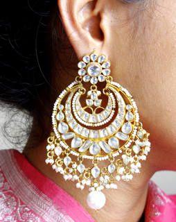 Big Kundan Chand Bali Earrings whitegoldMAE361e