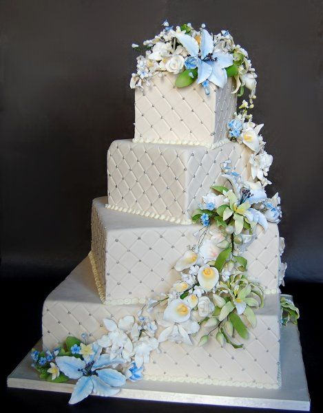 square rustic wedding cakes | Blue Green Ivory Square Wedding Cakes Photos & Pictures - WeddingWire ...