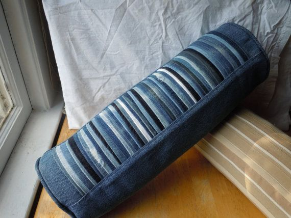 Denim Pleated Bolster Pillow upcycled from blue jeans. $35.00, via Etsy.