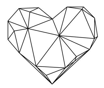 Black on White Heart, Geometric Art Scandinavian design Poster, Wall decoration, Minimalist Art XXL Poster 70×100, 24×36″, 50×70, A4