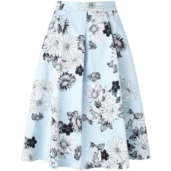 Miss Selfridge Pale Blue Floral Graphic Skirt ($80) ❤ liked on Polyvore featuring skirts, mint green, blue skirt, miss selfridge, floral skirt, pale blue skirt and flower print skirt