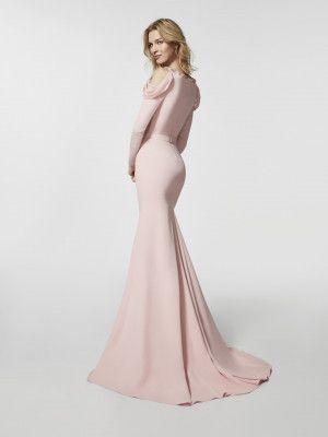 Imagem do vestido de festa rosa pálido (62063). Vestido GROVE comprido manga comprida