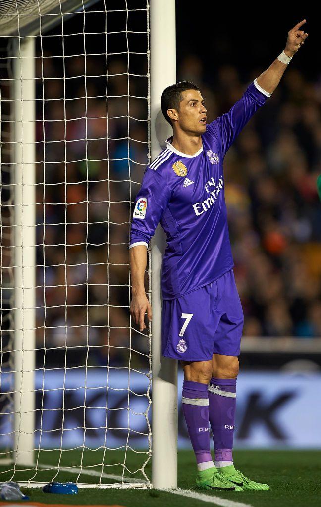 Valencia Spain February 22 Cristiano Ronaldo Of Real Madrid Reacts During The La Liga Match Between Valencia Cf Ronaldo Football Cristiano Ronaldo Ronaldo