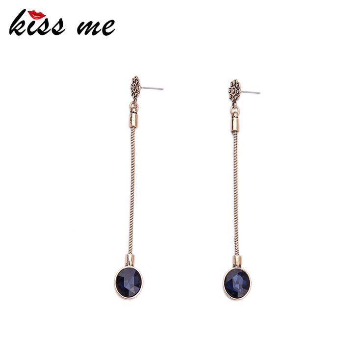 KISS ME Long Snake Chain Earrings Hanging Geometric Crystal Pendants Earrings for Girls Simple Jewelry