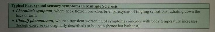 Paroxysmal symptoms in Multiple Sclerosis...