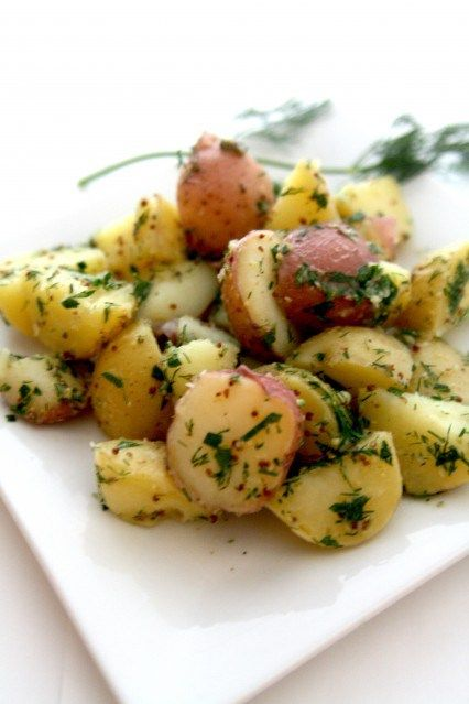 Herbed Potato Salad (No Mayo) 1 1/2 lb Yukon gold or red skin potatoes, halved - 1T white wine vinegar - 1T Dijon mustard - 2T extra-virgin olive oil - 1/4c fresh parsley, chopped - 1/4c fresh dill, chopped - s&p to taste. Place the potatoes in a large pot of cold water and bring to a boil. Lower the heat, and simmer for 12-15 minutes, until the potatoes are just tender. Drain the cooking water, rinse the potatoes in cold water to stop the cooking process, and allow to cool to room temp…