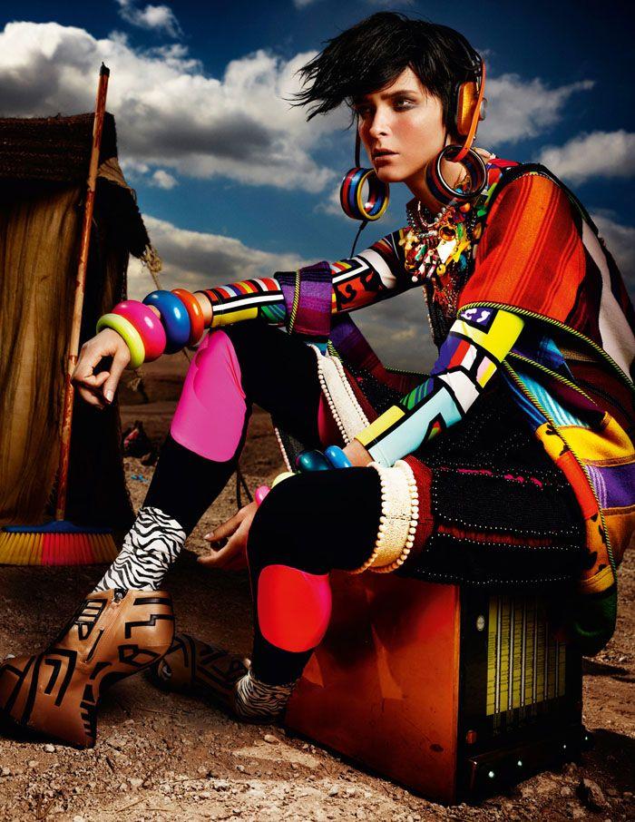 Carmen Kass | by Mario Testino | High Plains Drifter || Vogue  #neon  ☮k☮