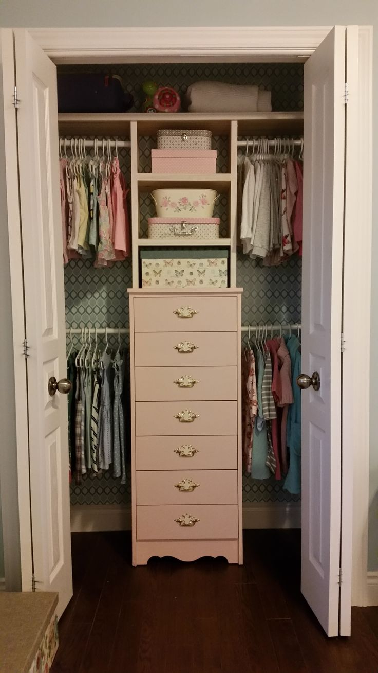Kaylees Finished Closet. First I Wallpapered The Walls With Sticky Paper  From Walmart Used To Line Drawers (so Much Cheaper Than Wallpaper), Then I  Put Her ...